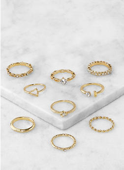 Set of Assorted Rhinestone Metallic Rings - 1138067253676