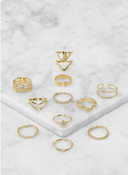 Assorted Metallic Rings Set - 1138067253683