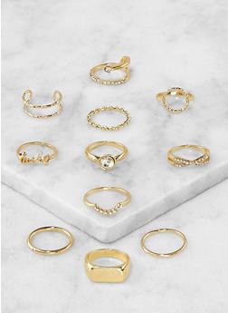 Assorted Metallic Rings Set - 1138067253689