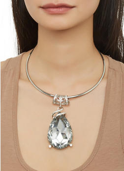Jeweled Teardrop Collar Necklace and Drop Earrings - 1138067255032