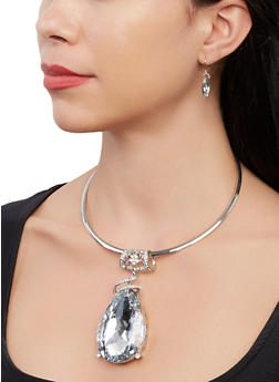 Jewel Pendant Collar Necklace and Drop Earrings - 1138067255330