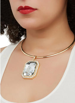 Jeweled Collar Necklace with Stud Earrings - 1138067259113