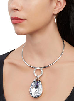 Jewel Pendant Collar Necklace with Drop Earrings - 1138067259285