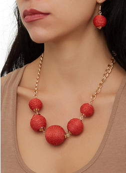 Threaded Ball Necklace and Drop Earrings - 1138071210148