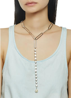 Rhinestone Drop Necklace with Stud Earrings - 1138071210193