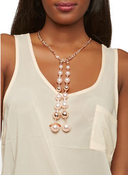 Long Faux Pearl Chain Necklace and Stud Earrings - 1138071210194