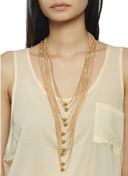Layered Beaded Metallic Necklace - 1138071210279
