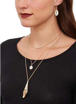 Shell Three Row Necklace and Drop Earrings Set - 1138071210295