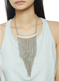Metallic Fringe Necklace with Stud Earrings Set - 1138071210335