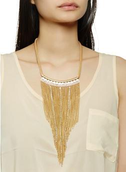 Metallic Fringe Necklace with Stud Earrings Set - 1138071210335