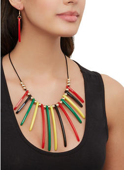 Colored Stick Fringe Necklace with Drop Earrings - 1138071211006