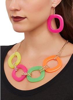 Plastic Link Necklace and Earrings - 1138071213051