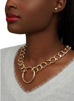 Thick Curb Chain Necklace with Stud Earrings - 1138071213910