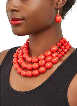 Layered Bead Necklace with Drop Earrings - 1138071431902