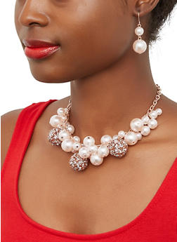 Druzy Faux Pearl Cluster Necklace and Earrings - 1138071431903