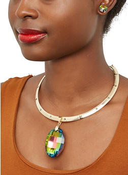 Oval Pendant Collar Necklace with Stud Earrings - 1138071431904