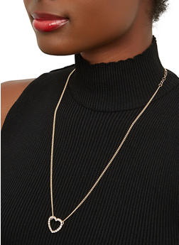 Rhinestone Heart Necklace - 1138071431909