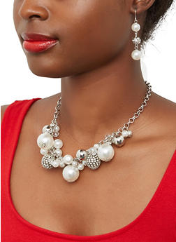 Faux Pearl Bead Cluster Necklace and Earrings - 1138071431971
