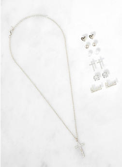 Cross Necklace and Blessed Stud Earrings Set - 1138071433507