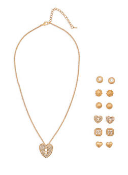 Rhinestone Lock Necklace and Stud Earrings - 1138071434350