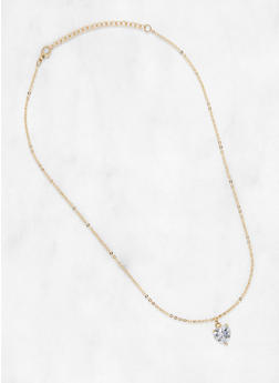 Heart Rhinestone Necklace - 1138071434412
