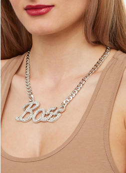 Boss Curb Chain Necklace and Stud Earrings - 1138071434447