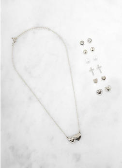 Double Heart Charm Necklace with Assorted Stud Earrings - 1138071435013