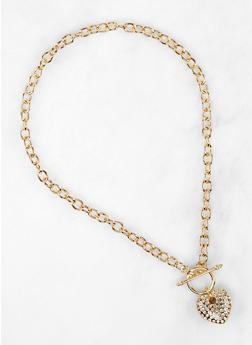 Rhinestone Heart Toggle Necklace - 1138071435021