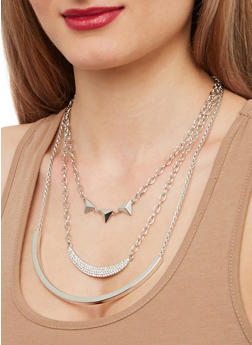 Layered Metallic Bar Necklace with Stud Earrings - 1138071435065