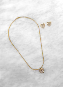 Rhinestone Heart Charm Necklace and Earrings - 1138071435081