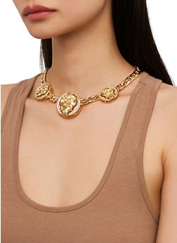 Lion Medallion Curb Chain Necklace and Earrings Set - 1138071435140