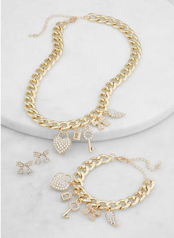 Multi Charm Curb Chain Necklace and Bracelet with Earrings - 1138071435161