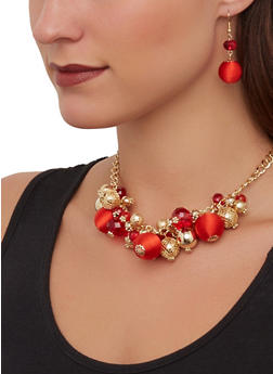 Bead Cluster Necklace and Drop Earrings - 1138071435415