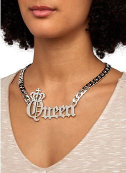 Curb Chain Queen Necklace and Stud Earrings - 1138071435521