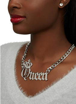 Queen Curb Chain Necklace with Stud Earrings - 1138071435558