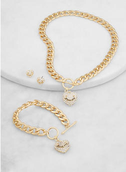 Heart Charm Curb Chain Necklace and Bracelet with Stud Earrings - 1138071436105