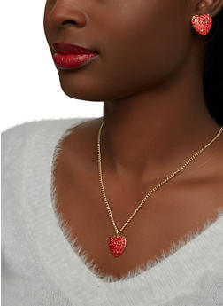 Rhinestone Heart Necklace with Matching Stud Earrings - 1138071438015