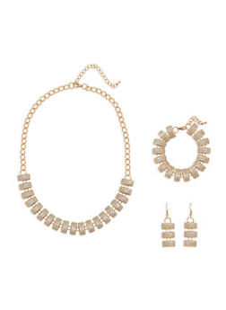 Glitter Necklace with Matching Bracelet and Earrings Set - 1138071438350