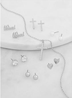 Cross Necklace with 6 Assorted Earrings - 1138071439559