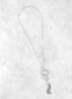 Rhinestone Circle Tassel Necklace and Stud Earrings - 1138072690200