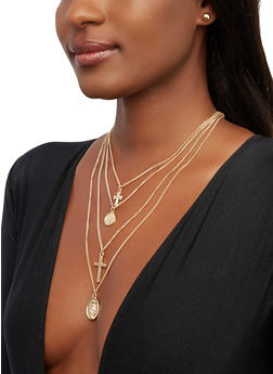Layered Religious Charm Necklace with Stud Earrings - 1138072690218