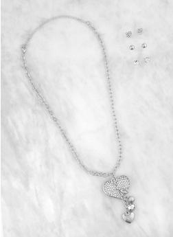 Stud Earring Trio with Heart Charm Chain Necklace - 1138072690510