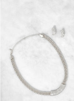 Rhinestone Bar Necklace with Stud Earrings - 1138072690575