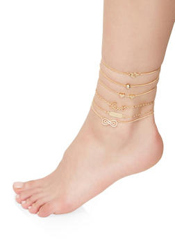 Set of 6 Chain Anklets - 1138072690889
