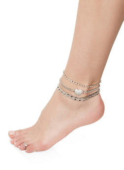 Heart Chain Anklet Trio with Toe Ring - 1138072690917