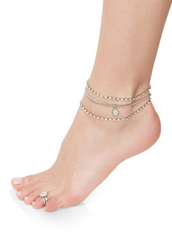 Rhinestone Heart Charm Anklet Trio with Toe Ring - 1138072690918
