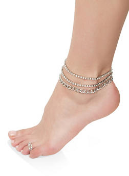 Assorted Curb Chain Anklet Trio with Toe Ring - 1138072690927