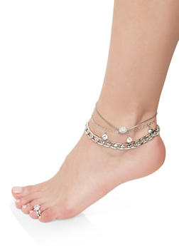 Rhinestone Anklet Trio with Toe Ring - 1138072690930
