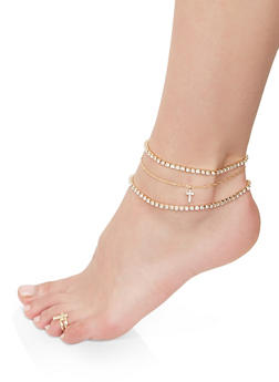 Cross Rhinestone Anklet Trio with Toe Ring - 1138072690932