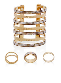 Rhinestone Cuff Bracelet with Rings - 1138072691571